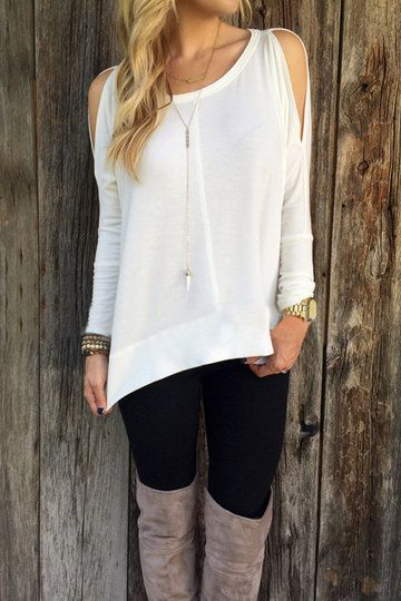 White Cold Shoulder Asymmetrical Blouse from mobile - US$13.95 -YOINS