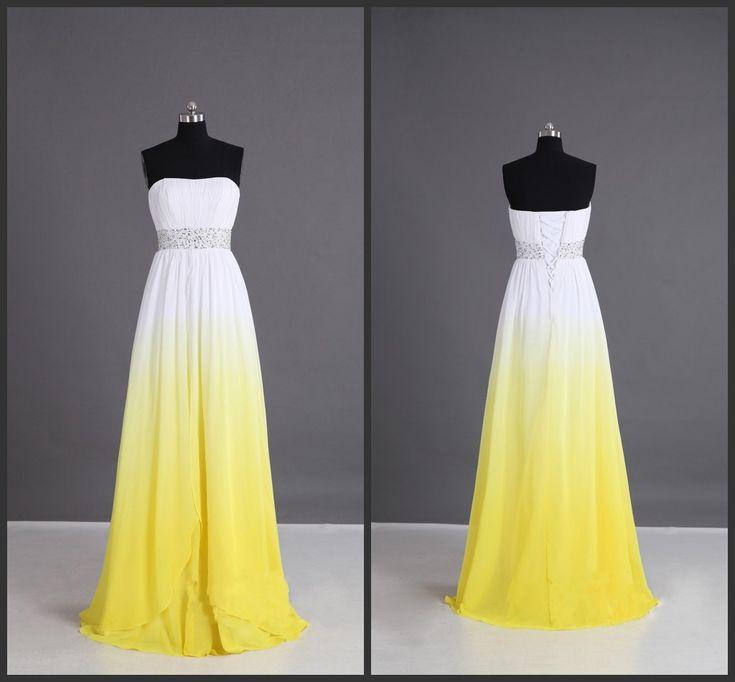 Beaded Beadings Sashed Floor Length 2016 Yellow Prom Dress Long Goan Colorful Dress Amazing Designer Lace Up Back Sleeveless Strapless
