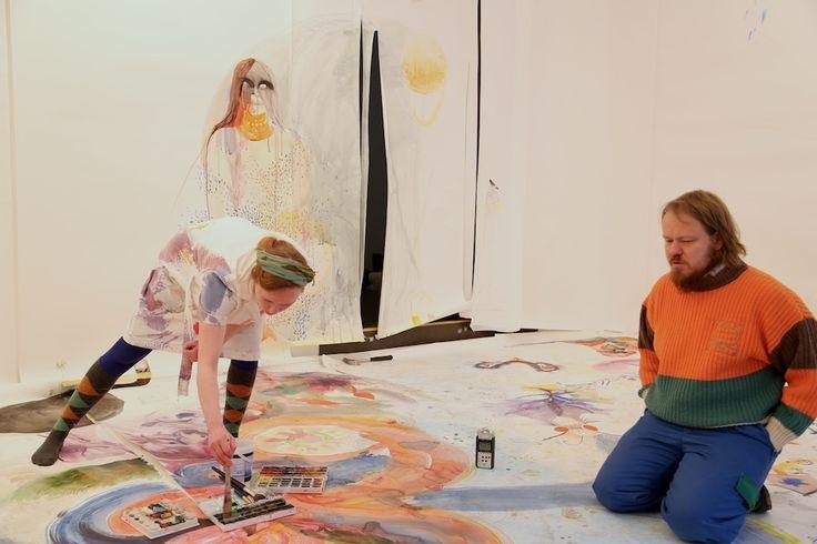 Hanna Saarikoski/ watercolor installation + performance/ Gallery Huuto 2014