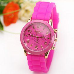 $3.90 WoMaGe Quartz Watch 6 Numbers and Rectangles Indicate Rubber Watch Band for Women - Plum