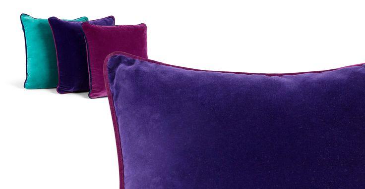 fab colours!  LOVE these Mya Cotton Velvet Cushion 50cm x 50cm, Purple with Plum Piping
