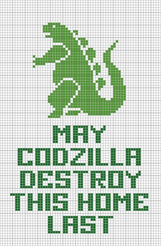 free cross stitch chart: Godzilla