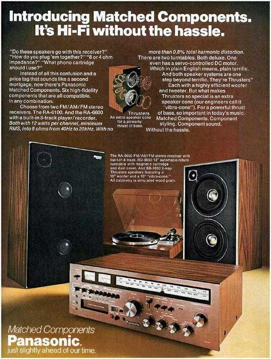 Dans les années 70, Panasonic présentait ses compositions haute-fidélité ! #panasonic #pub #hifi #vintage http://www.easylounge.com/composition-hifi/pack-haute-fidelite-sc-1235