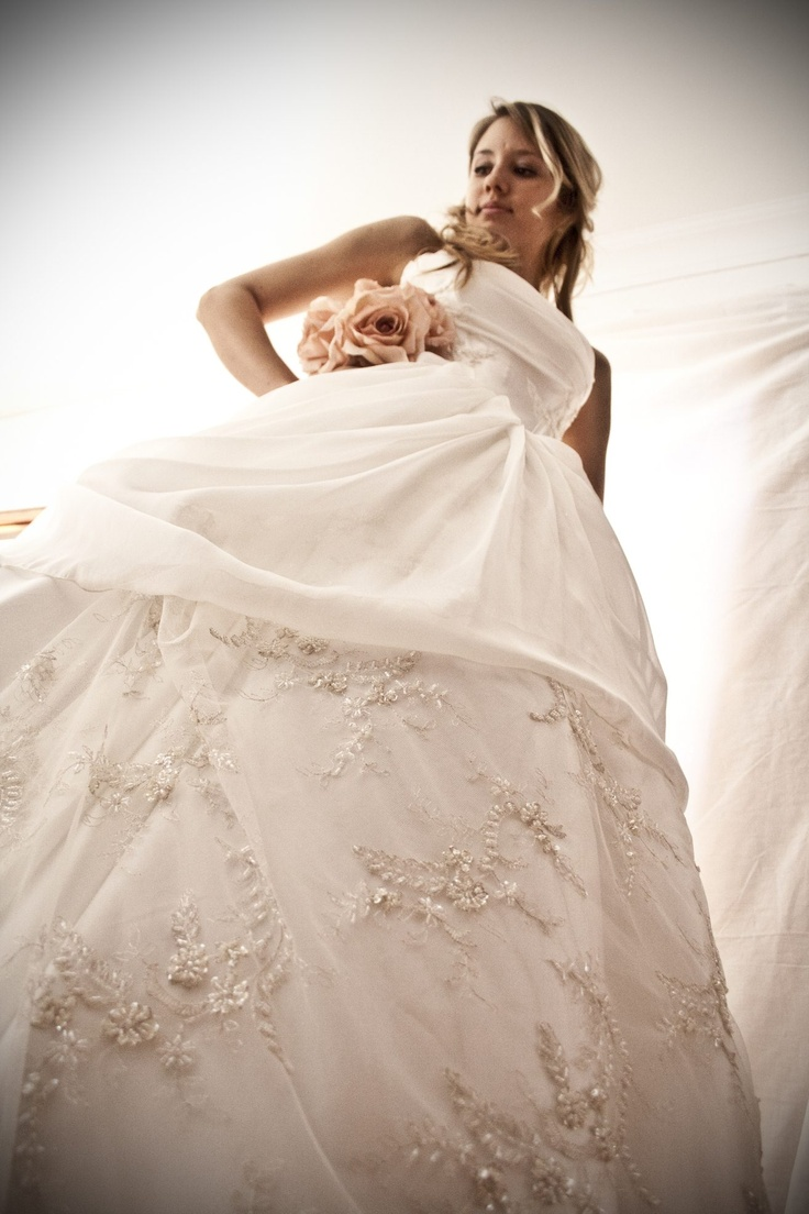 Silk georgette and satin gown with silver beaded lace detail - made with love by Aplomb Couture