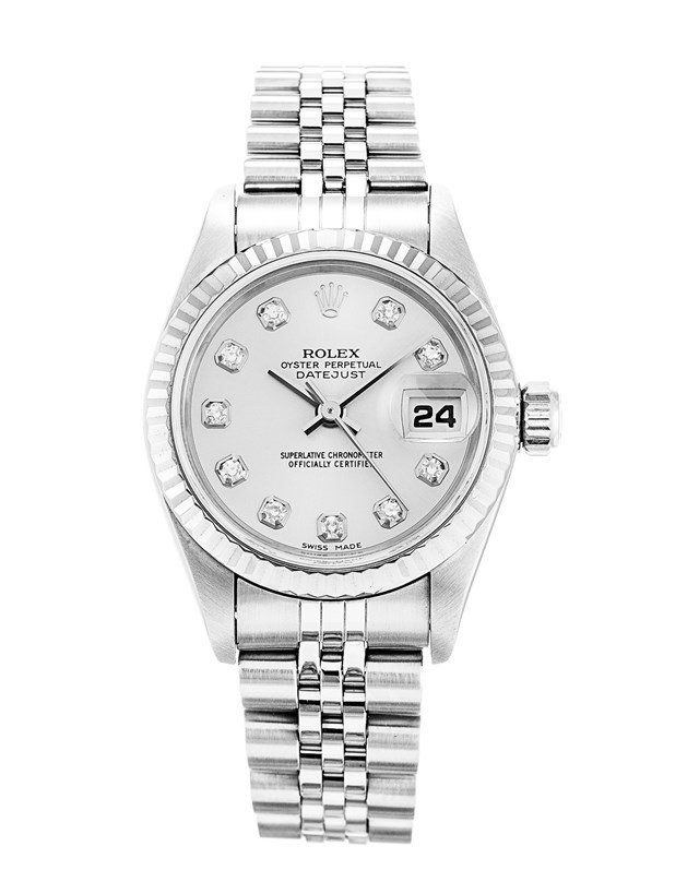 This is a pre-owned Rolex Datejust Lady 79174. It has a 26mm Steel Case & White Gold Bezel, a Silver Custom Diamond dial, a Steel (Jubilee) bracelet, and is powered by an Automatic movement.