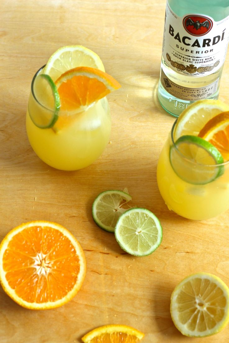 Sparkling_Triple_Citrus_Lemonade 6 oz Bacardi White Rum 6 cans San Pellegrino sparkling Limonata Juice of ½ each of a lemon, lime & orange, freshly squeezed 1 lemon, sliced 1 lime, sliced 1 orange, sliced 3 oz orange juice Instructions In a large pitcher, add Bacardi white rum, cans of limonata and orange juice. Stir together with plenty of ice cubes. Garnish with sliced fruit overtop of ice cubes in large stemless wine glass, and enjoy!