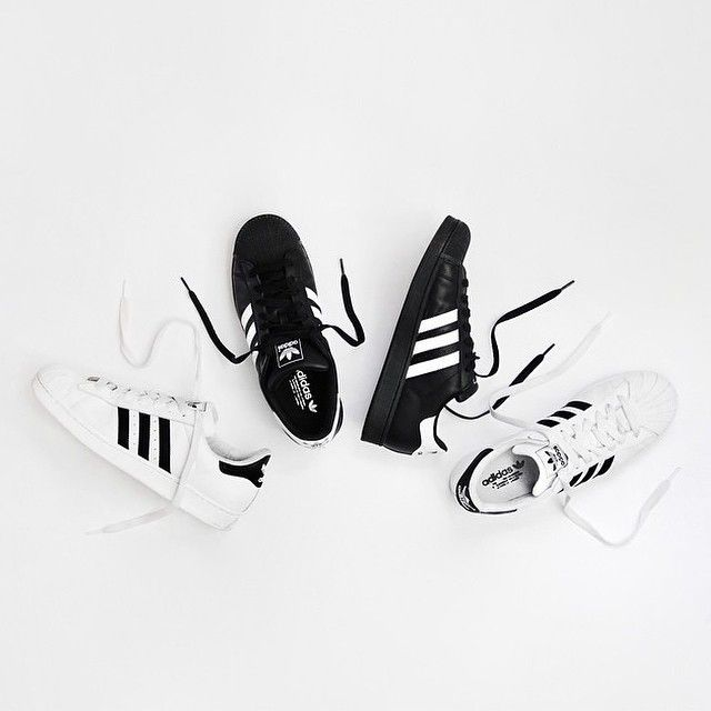 Classic black and white Adidas kicks!