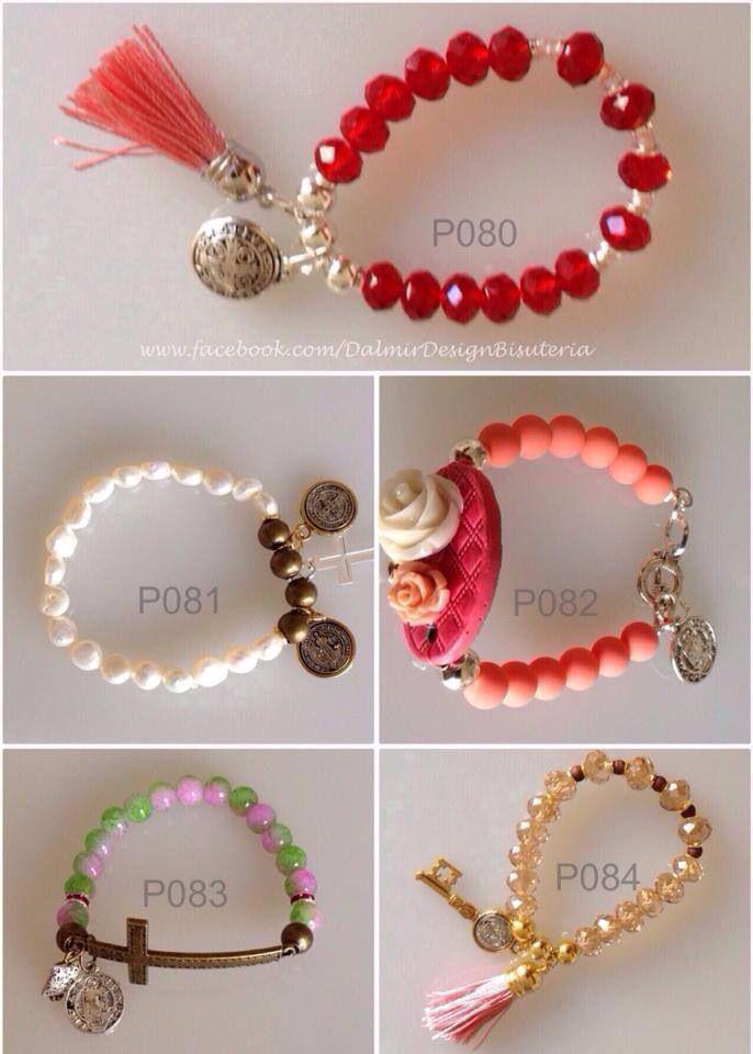 Pulseras san Benito varios modelos Bisuteria Precios mayoreo P080 cristal facetado P081 perla de río P082