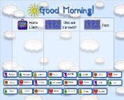 Morning Calendar routines for the primary grades.  Includes Lunch Count, Morning Song Selector, Calendar, Seasons, Today's Number using base-10 blocks and number grid (how many days in school), Money, Weather, and Timer (I use for fast math practice.)  All graphics created by C.Bangsund.