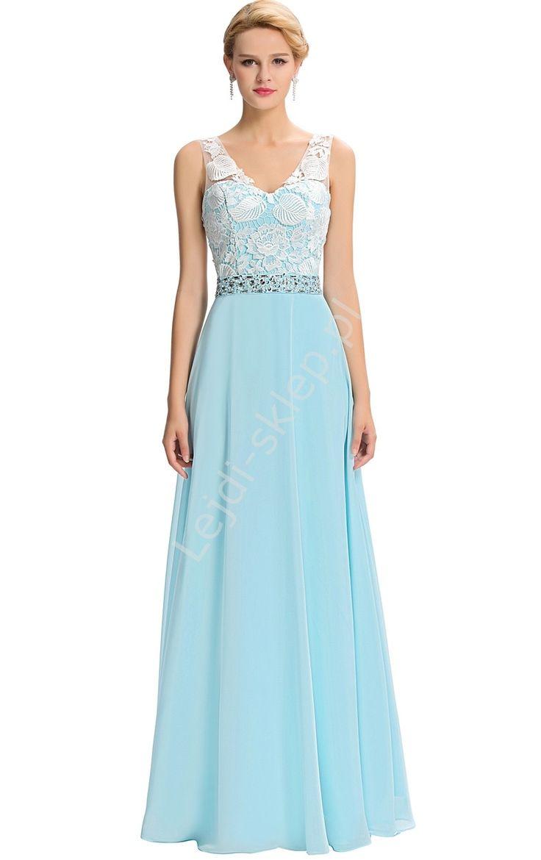Długa turkusowa sukienka z koronką z gipiury | długie suknie na wesele, studniówkę, turkusowe sukienki