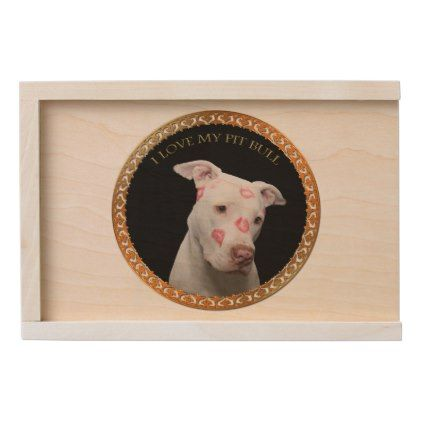 #White pitbull with red kisses all over his face. wooden keepsake box - #pitbull #puppy #dog #dogs #pet #pets #cute #doggie
