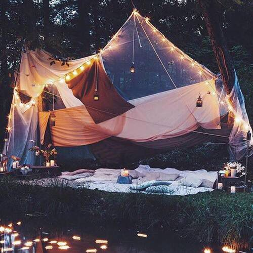 beautiful outdoor tent with lights