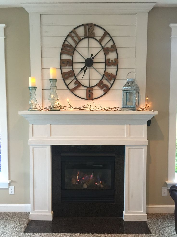 Fixer upper - Joanna Gaines inspired fireplace mantle - hand cut pine shiplap.