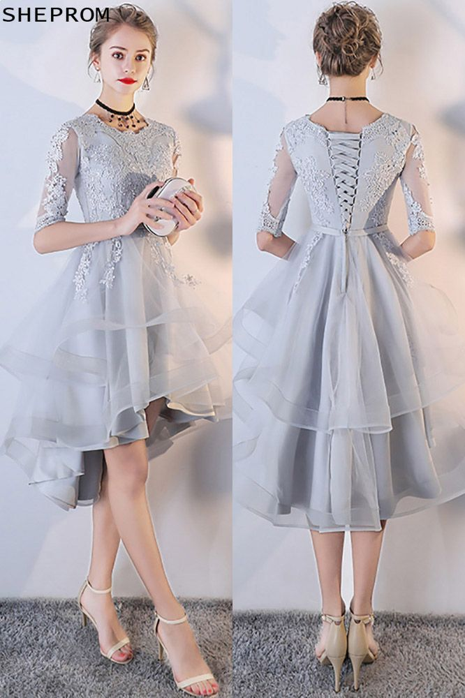 99b25b7369f Grey Lace Sleeved Homecoming Prom Dress with Ruffles -  66.6 ...