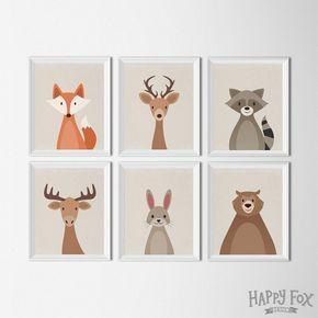 Woodland Tier festgelegt, Kunst-Ausdrucke, Kinderzimmer Decor, Fuchs tragen Waschbären Hirsch Tier Kindergarten Abbildung Kunstdrucke, Baumschule druckt Kinderzimmer