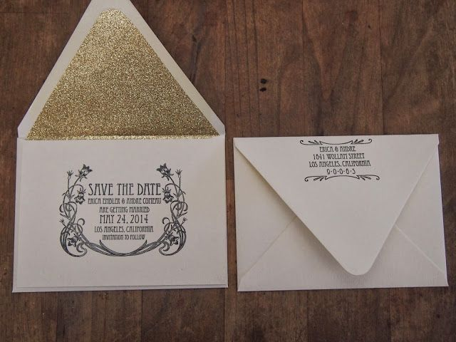 SPOTTED | Erica's Gold Glitter Art Nouveau Save the Dates