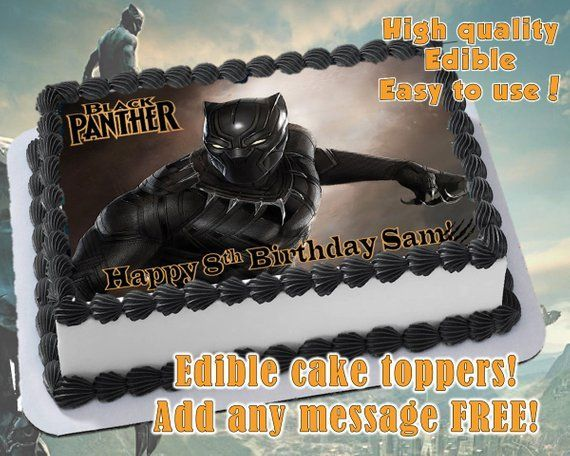Black Panther Edible Cake Topper Decoration Personalized Party