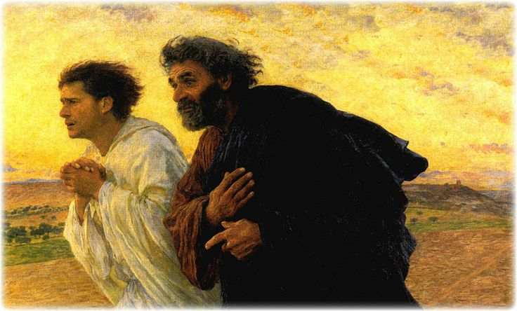 Jesus' Apostles Peter and John Running to the Tomb, original oil painting by Eugene Burnand, 1850-1921: Peter O'Toole, Eugèn Burnand, Oil On Canvas, Sepulchr, Mornings, Running, Painting, Eugene Burnand, Discipl Peter