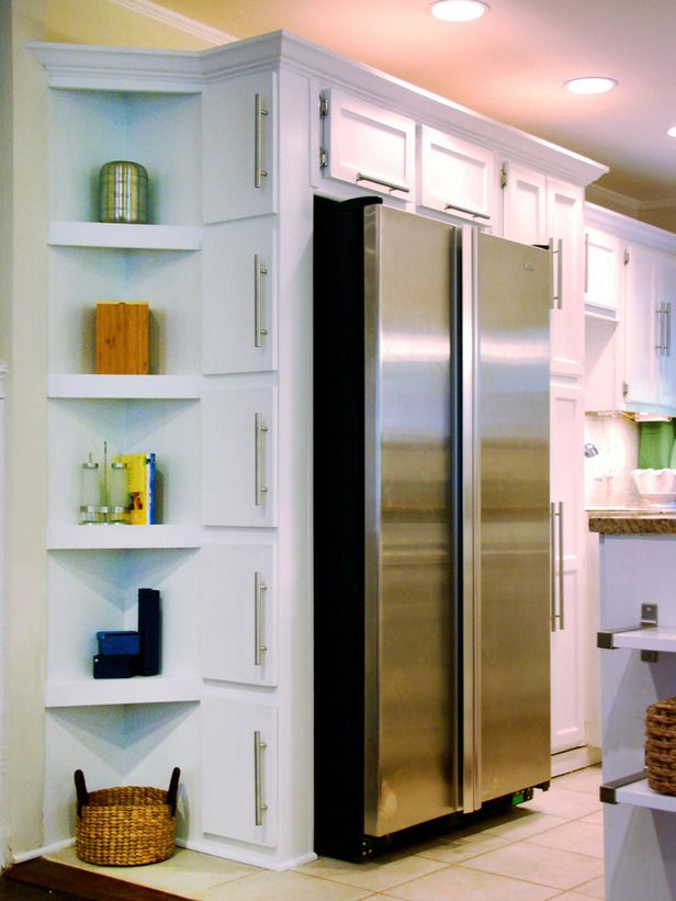 Corner shelves from floor to ceiling - more useful space and an updated look Corner Stack. Kitchens need plenty of storage options, so utilize every unused corner by adding a vertical row of shelves. This unit offers a great space for displaying cookbooks and spices, and it's all within reach from the refrigerator. Design by John Gidding