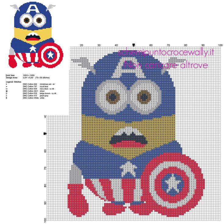 Minion vestito da Capitan America schema punto croce da ricamare 79 x 96 crocette 7 colori DMC
