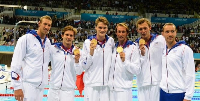Amaury Leveaux, Fabien Gilot, Clément Lefert et Yannick Agnel/Médaille d'Or Natation: relais 4x100m.
