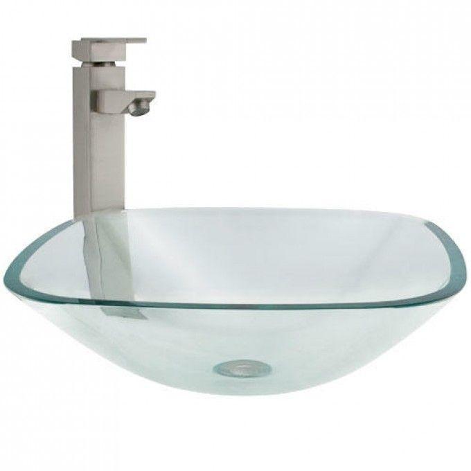 Square Glass Vessel Sink  - Bathroom Sinks - Bathroom