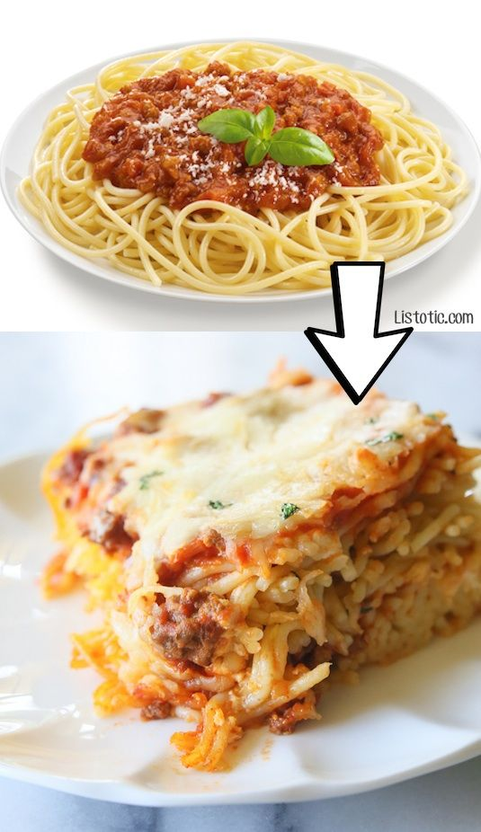 #6. Turn leftover spaghetti into baked spaghetti!   24 Creative Ways To Use Leftovers