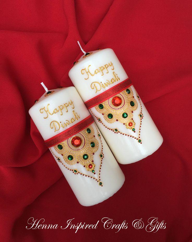 Happy Diwali, Diwali Candle, Diwali Gift, Diwali Decor, Diwali Decoration, Festival of Lights, Indian/Hindu Festival, Gift, Set of 2 candles by HennaCraftsbyPramila on Etsy https://www.etsy.com/ca/listing/533544972/happy-diwali-diwali-candle-diwali-gift