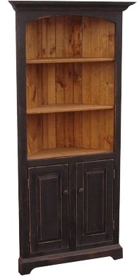 Pine on Bloor - Rustic Corner Bookcase - different stains available