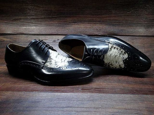 Sipriks Luxury python shoes italian men snake skin leather shoes wingtip dress shoes