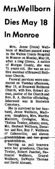 Newspaper Obituary for Mrs Omie Susan Gilbert Welborn daughter of   George Washington Gilbert and   Laura Ann Jackson Wife of Jesse T Welborn