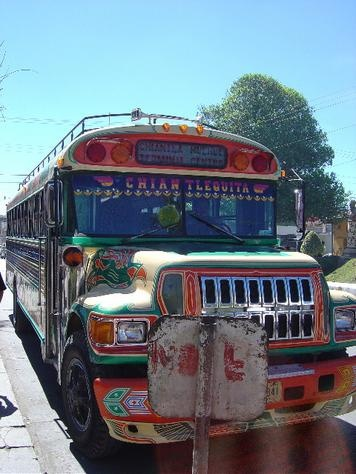 Huehuetenango, Guatemala. ((These are chicken buses! They are always packed full of people. And I mean packed!!))