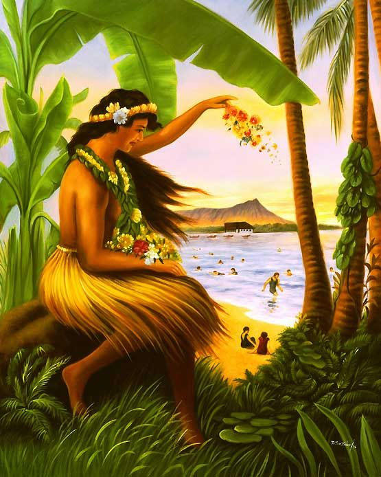 Vintage Hawaiian Art Hula Princess Hula Princess