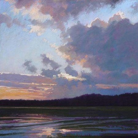 Dark Tidings - ArtistDaily. Fanfare by Liz Haywood-Sullivan, pastel painting, 24 x 24.