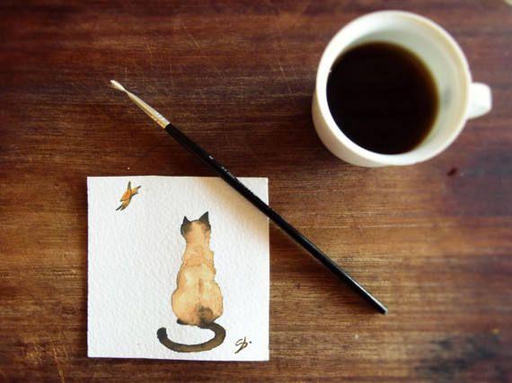 Biglietto auguri gatto con farfalla STAMPA  di OrmeDiCaffe su Etsy