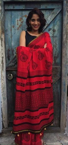 Red Cycle Hand Block Printed Mul Cotton Saree