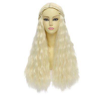 Game of Thrones Cosplay Wig Daenerys Targaryen khaleesi Long Curly Hair (Beige)