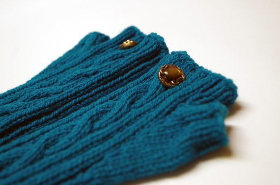 Arm warmers (fingerless gloves, hand warmers), turquoise (for women)