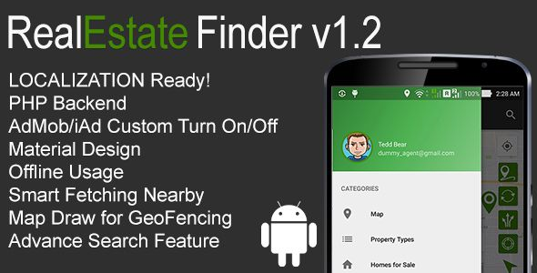 RealEstate Finder Full Android Application v1.2 . Someone is trying to pretend in behalf of us.We are not affiliated with anybody.If someone is trying to contact you, please report it to us. We have already filed a legal action regarding to that person.Please contact us here and this is our official email address.
