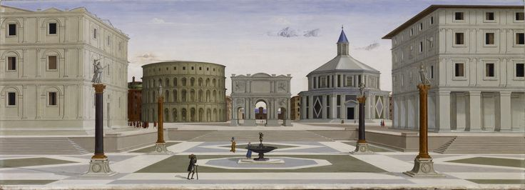 """The Ideal City"" of the Renaissance by Fra Carnevale. Oil and tempera painting (c1480). Panel in the Walters Art Museum"