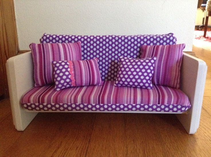 Diy American Girl couch made from 3 plaques, 1 in foam pieces, and fabric....