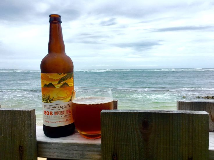 Lanikai Brewing's Pillbox Porter on the shore near Laie, HI. It's VERY good!