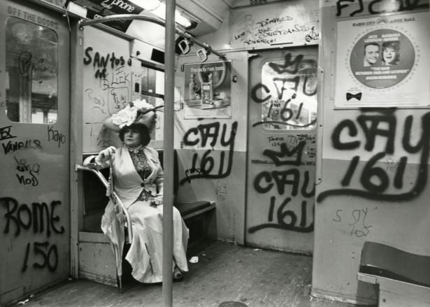 """Editta Sherman on the Subway,"" ca. 1968-1976, Bill Cunningham, Gelatin silver photograph, New-York Historical Society."