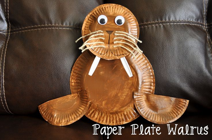 """preschool walrus craft - for """"W"""" unitCrafts For Kids, Ideas, Crafty Things, Kids Crafts, Paper Plates Crafts, Paper Plate Crafts, Plates Walrus, Art Projects, Heart Crafty"""