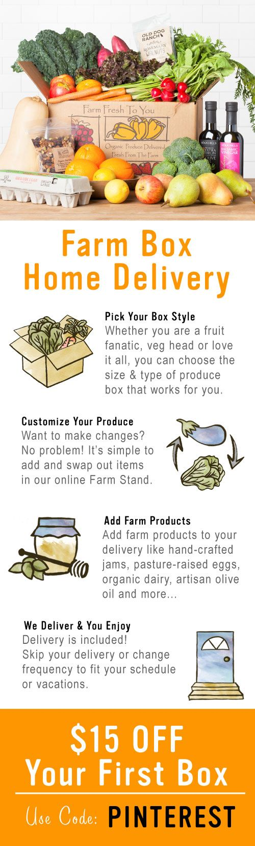 Organic Produce Conveniently Delivered Every Week! Easy to customize each box. Get $15 Off Your First Box With Code: PINTEREST