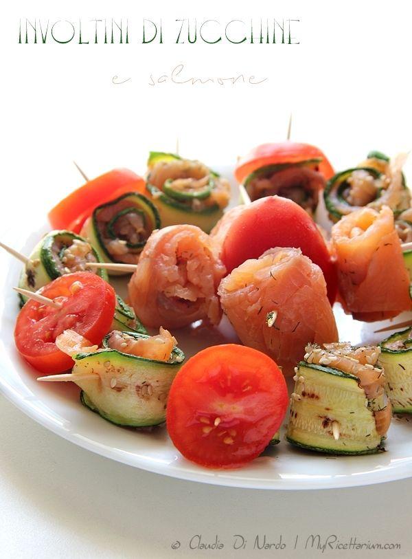 Involtini di zucchine e salmone affumicato