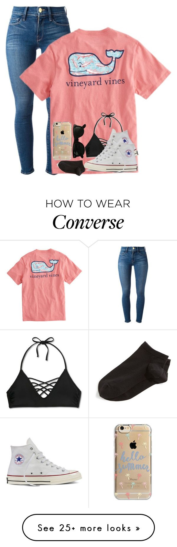 """""""Vineyard Vines"""" by lexiii-caniff on Polyvore featuring Frame Denim, Vineyard Vines, Xhilaration, Converse, Wolford, Agent 18 and Ray-Ban"""