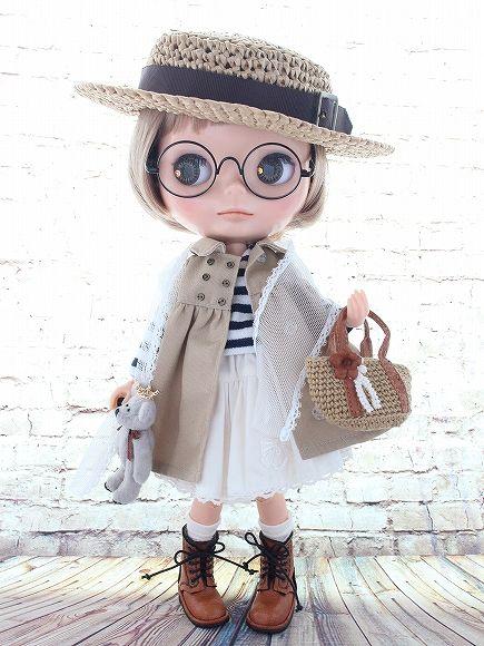 ◆Blythe Outfit◆ブライス♪トレンチワンピ9点セット②♪NO.43_ブライス本体・眼鏡は付属しません。