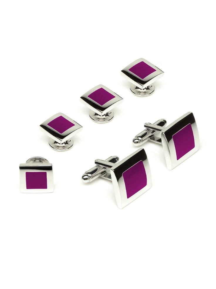 A new take on the designation of a color as Persian  - new Color Block Tuxedo Studs and Cufflinks - persian plum