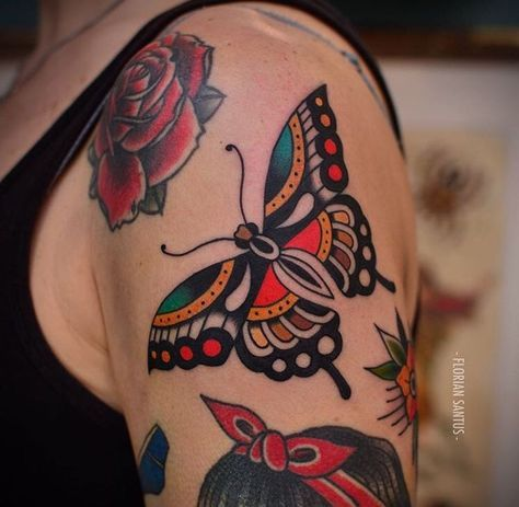 Beste Tätowierung traditioneller Schmetterling tat Ideen   – Traditional Tattoo Inspiration